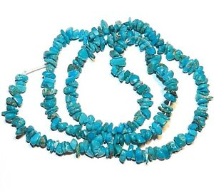 T425 Sleeping Beauty Blue Turquoise Small 4mm - 5mm Gemstone Chip Beads 16