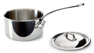 Mauviel M'cook 1.9 Qt Stainless Steel Saucepan with Lid Cast SS Handle 5210.17