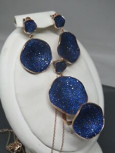 Turkish Handmade Jewelry 925 Sterling Silver Sapphire Stone Ladies' Earring Set