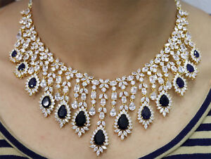 Cubic Zirconia Gorgeous Blue Stone White Gold Plated Necklace Set 229