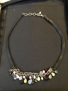 Silpada Rainbow Black Leather Cha Cha Bead Necklace .925 Sterling Silver
