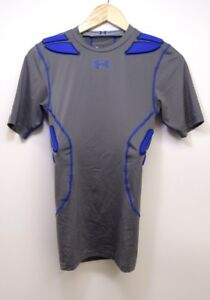 New Under Armour Mens Gameday Armor Gray Blue MPZ 5-Pad Football Tee T-Shirt S