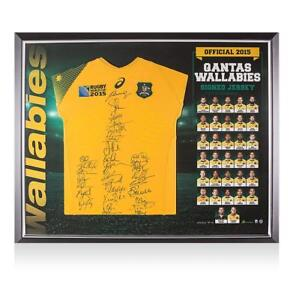 Framed Australia Squad Signed 2015 Rugby World Cup Shirt Autograph Jersey