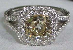 1.70ct LT YELLOW CUSHION DIAMOND PLATINUM RING MICROSET by Legacy Designs