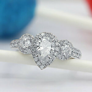3.00 CT Diamond Pear Shape 10k White Real Gold Engagement Three Stone Ring
