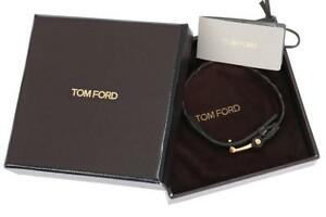 NEW TOM FORD LUXURY BROWN BRAIDED LEATHER BRACELET GOLD T LOGO ICONIC CLOSURE