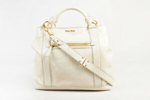 Miu Miu Beige Crocodile Embossed Patent Leather Oversized Tote With Strap