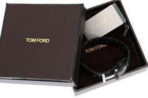 NEW TOM FORD LUXURY BLACK BRAIDED LEATHER BRACELET SILVER T LOGO ICONIC CLOSURE