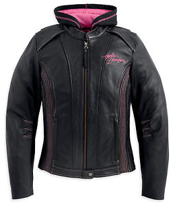 Harley Davidson Womens PINK LABEL Black Leather Jacket 3in1 Hoodie 98031-12VW 1W