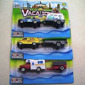 Vacation Camping NEW Playsets Truck Camper Camper Trailer Van Boat 1:64 Scale