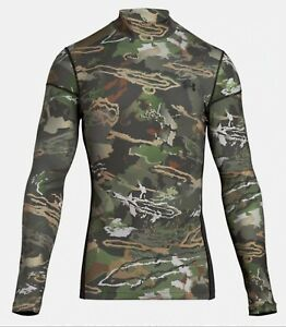 Under Armour Men's Forest Camo UA ColdGear Armour Hunting T-Shirt 1259129