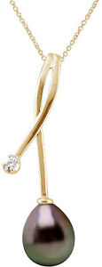 Pearls and Colors Women 9 ct (375) Yellow Gold Pear Pear Tahitian Cultured