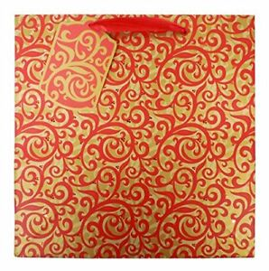 The Gift Wrap Company 6 Count Square Gift Bags Medium Red Scrolls $14.99