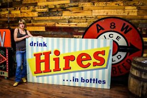 HIRES ROOT BEER Giant TIN ADVERTISING SIGN RARE 60's Soda Pop Root Beer Gas Oil