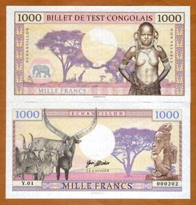 Congo 1000 Francs 2018 Private issue Specimen gt; African Tribal Nude $4.74