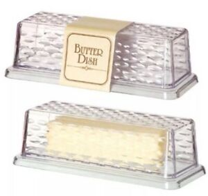 Clear Textured BUTTER DISH For SERVING TRAY COVERED DISH Brand New