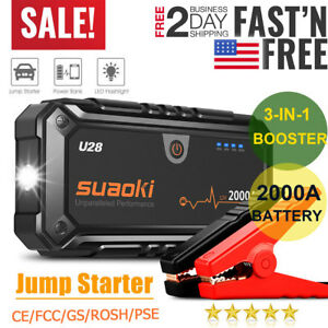 3-IN-1 12V 2000A Car Boat Jump Starter Booster Power Bank Smart Battery Charger