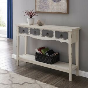 Modern Two Tone Two Drawer Distressed Console Entryway Table Antique White $169.99
