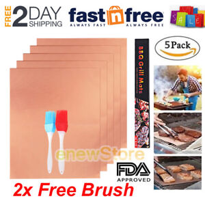 5pcs Copper BBQ Grill Mat Miracle Non Stick Bake Magic Reusable As Seen On Tv US