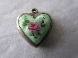 Vintage Sterling Bracelet Charm Puffy Heart Mint Green Guilloche Enamel Charm