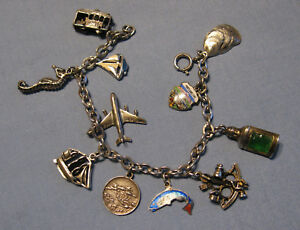 Vintage Sterling Silver Charm Bracelet with 11 Charms 2 Moving