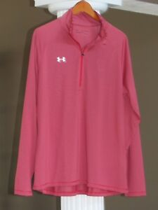 UNDER ARMOUR Red Gray Stripe HEAT GEAR LOOSE 34 Zip Long Sleeve Top Sz 2XL NWT