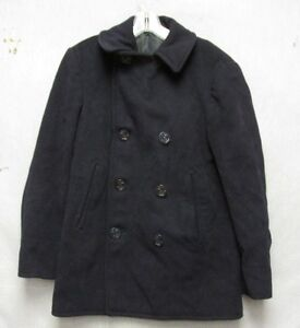S3825 WWII Navy Blue Wool Double Breasted Tagless Peacoat Corduroy Pockets