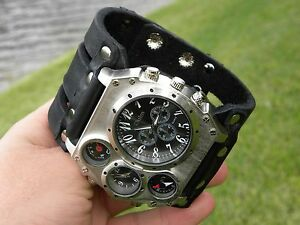 High Quality Bison Leather wristband  cuff bracelet  Men`s Watch Steam punk