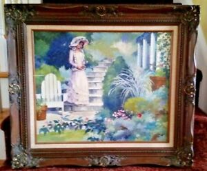 G. Rose signed oil on canvas portrait amp; landscape victorian painting framed $349.99