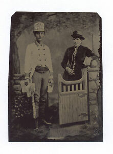 1870's-1890's POLITICAL OR BANNER MAN TINTYPE W