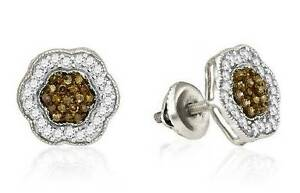 Chocolate Brown & White Diamond Earrings 10K White Gold Cluster Studs .50ct