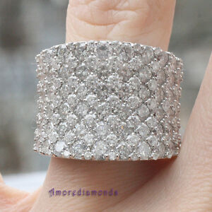 6.50 ct D VS2 natural diamond fashion cocktail right hand ring 14k white gold