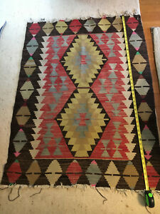 Vintage Turkish Handmade Kilim Cotton Rug 46 inches by 33 inches