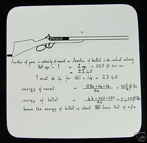 Glass Magic Lantern Slide CALCULATION FOR ENERGY OF A BULLET FROM A RIFLE C1910