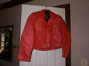 Lost Worlds Red mens or ladies Leather Motorcycle Police style Jacket Sz 30 USA