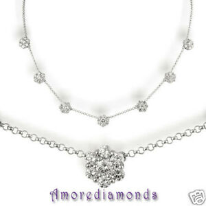 5.4 ct F VS2 49 round ideal diamond 7 flower fashion necklace 14k white gold 18