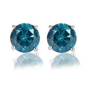 2.70CT Round Brilliant Cut Blue Diamond 14K Gold Over Stud Earrings Screw Back