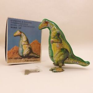 WORKING Vintage Metal Wind Up Dinosaur WITH KEY Litho Collectors Tin Toy T REX