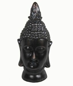 Antique Bronze Ceramic Buddha Head Statue 25 Inches Tall