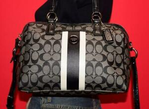 COACH Signature Stripe PVC Black Jacquard Patent Leather Tote Purse B