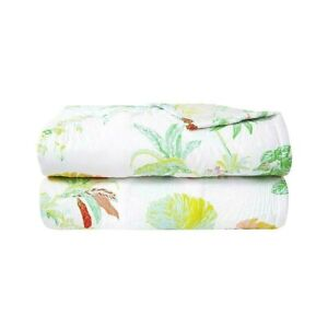 FRANCE YVES DELORME ETE COTTON SATEEN QUILTED COVERLET TROPICAL FLORAL