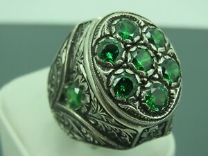 Turkish Handmade Jewelry 925 Sterling Silver Emerald Stone Men's Ring Sz 9