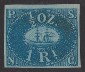 Peru : 1857 Pacific Steam Navigation Co 1R blue on blued paper PHOTO CERTIFICATE