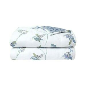 FRANCE YVES DELORME PLUMES COTTON QUILTED COVERLET TROPICAL PARROTS PRINT