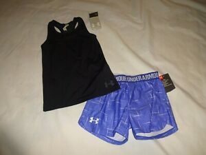 NEW Lot of 2: Girls Under Armour Outfit size 6x shirt + shorts BlackPurple