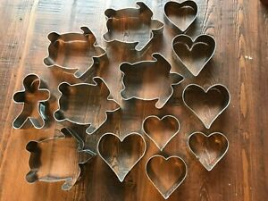 Metal Cookie Cutters Tin  Steel Set of 13 Turtles and Hearts Gingerbread Man