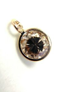 Natural .25 14CT Natural Champagne Diamond 14K Gold Pendant Charm