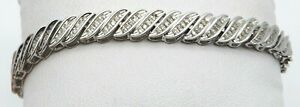 BEAUTIFUL Solid 10k White Gold  Diamonds Ladies Tennis Bracelet ~ 3.00 CT TWT ~