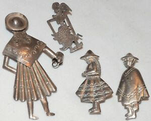 Vintage Peruvian Sterling Silver Brooch Pin Lot Peru Man Woman Girl Bucket Inca