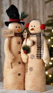 New Primitive Christmas SNOWMAN COUPLE DOLL Figure Welcome Birdhouse 21